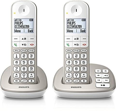 Philips XL4952S/38 schnurloses Telefon mit Anrufbeantworter (4,8 cm (1,9 Zoll) Display, HQ-Sound, Mobilteil mit Freisprecheinrichtung)