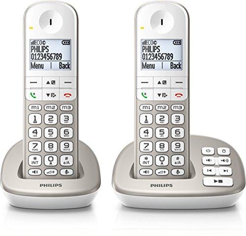 Philips XL4952S/38 schnurloses Telefon mit Anrufbeantworter (4,8 cm (1,9 Zoll) Display, HQ-Sound, Mobilteil mit Freisprecheinrichtung) silber
