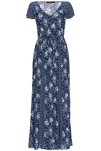FIND Damen Maxikleid mit Blumenmuster Blau (Blue)