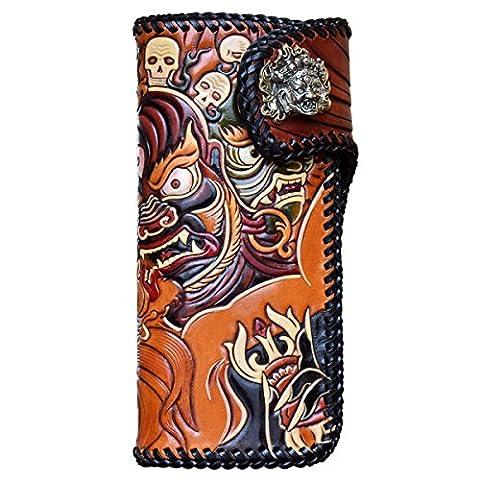 OLG.YAT® Pflanzlich gegerbtes Leder Geldbörse Portemonnaie Börse Brieftasche Handgefertigt Retro 20.5*10.5*4cm OLG-WLDHTK4