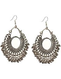 Zephyrr Jewellery German Silver Afghani Dangler Hook Chandbali Earrings Mirrors