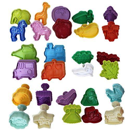 Ausstechformen für Baby-Duschen, Fondant, Sugarcraft, Gebäck, Kuchen verzieren, Packung mit 28 Stück, Tiere, Gemüse, Blatt, Love, Best Wishes, Congrats und Thank you geformte Kunststoffformen