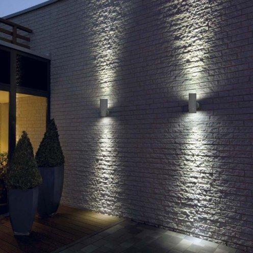 Led 8w matt white stainless steel double outdoor wall light up aloadofball Choice Image