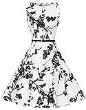 Zarlena Damen Vintage Rockabilly Audrey Hepburn Kleid Petticoat 3XL weiß/schwarzes Floralmuster DRAH-BLK-3XL