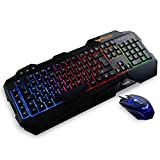 Gaming Keyboard {UK Layout}, HAVIT Rainbow LED Backlit Wired Keyboard and Mouse Combo Set (Black)