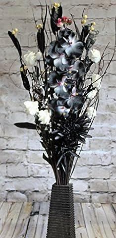 Noir et blanc Unique NEUF séchées et fleurs artificielles fait à la main en un bouquet 85cm de haut avec gratuit 26cm Bois Vase fabriquée au Royaume-Uni