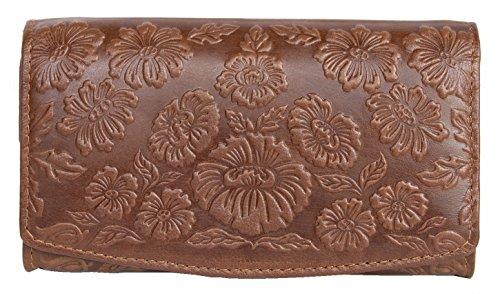 Damen Braunes Leder Portemonnaie - Brieftasche mit ornamentalen Blumenprägung