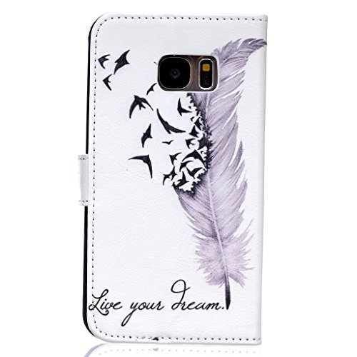 Uming® Relief Geprägte Gemalte bunte Muster Druck PU Kasten Hülle Fall [ Feather Birds Dream | für IPhone6SPlus IPhone 6SPlus 6Plus IPhone6Plus ] Artificial-leder Kunstleders Schlag Holster mit Halter Feather Birds Dream