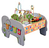 KidKraft 17508 Deluxe Spieltisch aus Holz für Kinder und Kleinkinder - Spielset mit Stauraum, Zubehör inklusiv Motorikschleife/Kugelbahn, Zug und Tieren - Holz-Spielzeug