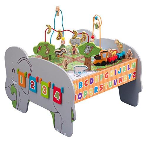 KidKraft 17508 Tavolo attività Deluxe in Legno per Bambini con Labirinto di Perline, Treno Giocattolo e Animali