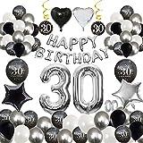 MMTX 30 Geburtstag Dekoration Schwarz Silber, Geburtstag Party Luftballon Deko mit Happy Birthday Luftballon,Druck Latex Luftballons Sterne Herz Folienballons für Junge Männer Mädchen Frauen