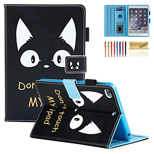Casii nuovo iPad mini 1/2/3/4 case, slim leggero supporto Folio Premium PU leather Smart Cover con funzione Sleep/Wake per 20,1 cm Apple iPad Mini 4/mini 3/mini 2/mini 1 A-Cat & Don't Touch My iPad