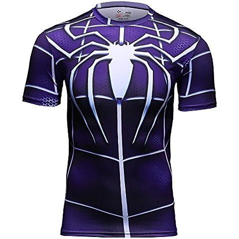 Cody Lundin® Hombre Manga Corta Fitness camiseta running para hombre Track movimiento camiseta de compresión Impreso en 3d Spider-Man Tops Plateado plata Talla:mediano