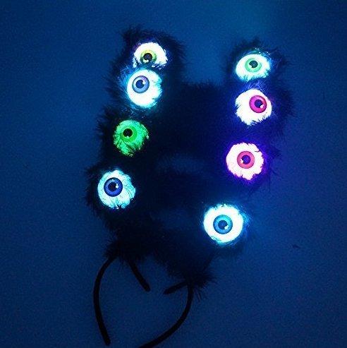Augapfel Kostüm - UChic 4 STÜCKE Augapfel LED Blinkt Augen Schwarz Feder Alien Haarband Kostüm Zubehör Glow Party Supplies Party Favors für Kinder Mädchen Jungen