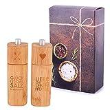 Räder Salzmühle GLÜCK und Pfeffermühle Liebe Bambus in Geschenkverpackung (Geschenkverpackung)