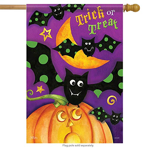 ASKYE Trick or Treat Bats House Flag Halloween Decorative Garden Flag Banner for Party Outdoor Home Decor(Size: 28inch W X 40inch H) (Kit House Bat)