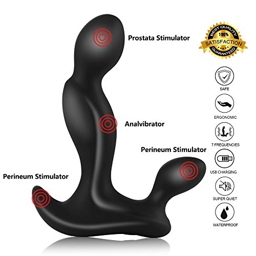 Lukesha Prostata Vibratoren Stimulator Analplug Analvibrator Sexspielzeug für Männer, 100% Medizinischem Silikon