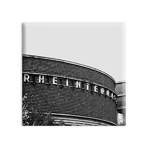 Kühlschrankmagnet Düsseldorf - 5 x 5 cm - Magnet mit Fotokunst-Motiv: Rheinterrasse - als Geschenk oder Souvenir