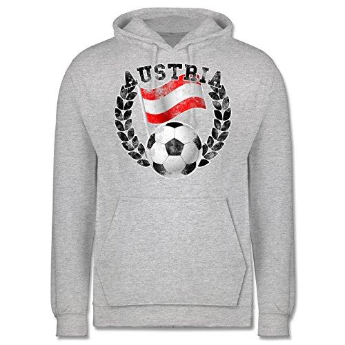 EM 2016 - Frankreich - Austria Flagge & Fußball Vintage - Männer Premium Kapuzenpullover / Hoodie Grau Meliert