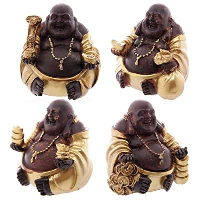 Gold & Brown Fat Chinese Buddha with Necklace (1 Supplied)