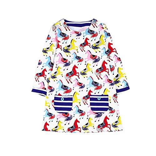 Amlaiworld Mädchen langarm bunt Pferd blumen Baum drucken kleider kinder Niedlich t-shirt kleidung(2-7Jahren) (4 Jahren, A) (T-shirt Weichen Baum)