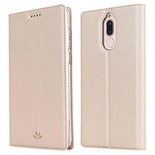 Feitenn Huawei Mate 10 lite Hülle, dünne Premium PU Leder Flip Handy Schutzhülle | TPU-Stoßstange, Magnetverschluss, Kartenschlitz, Kameraschutz- und Standfunktion Brieftasche Etui (Gold)
