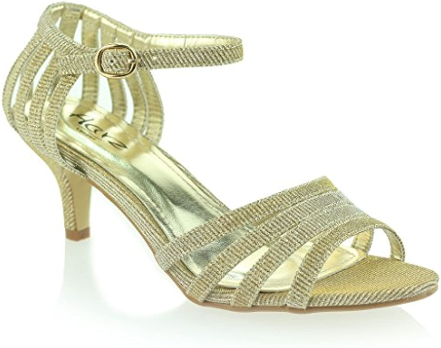 19a4cbc80e8 AARZ LONDON Women Ladies Sparkly Sparkly Sparkly Mid Heel Casual Evening  Wedding Party Prom Sandals Shoes Size B06XGZMLZZ Parent 6069cd