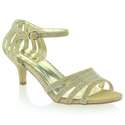 Femmes Dames à lanières Pétillant Briller Talon Moyen Soirée Mariage Bal de Promo Sandale Chaussures Taille Or