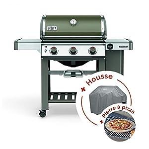 Pack Barbecue à gaz Weber Genesis II E-310 GBS Smoke Grey + Pierre à pizza + housse