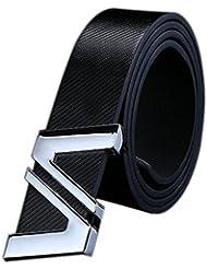 Malloom Hombres mujeres carta automática hebilla cuero correa cinturones de hebilla de cinturón (Negro)