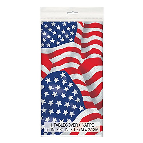 Unique Party Supplies Kunststoff-Tischdecke mit US-amerikanischer Flagge, 213 x 137 cm