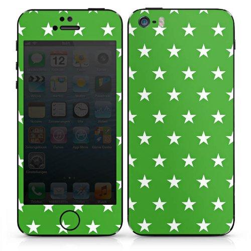 Apple iPhone 5 Case Skin Sticker aus Vinyl-Folie Aufkleber Sterne Muster Grün DesignSkins® glänzend