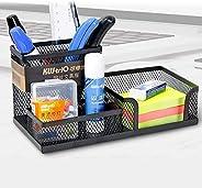 Womdee Desk Organizer Multifunctional Pen Holder, Metal Mesh Pot Stationery Storage Container, Desk Tidy Organiser with 3 Com