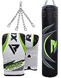RDX Boxsack MMA 17Pc & 13Pc Boxset 4ft 5ft Gefüllt Schweren Handschuhe Bügel Ketten Boxsäcke Trainings