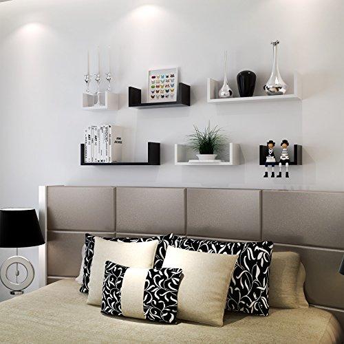 Songmics mensola a muro set da 3 mensole da parete scaffale mdf 60 45 30 cm carico massimo 15 - Mensole sopra il letto ...