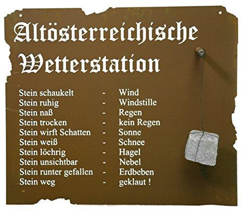 Metallmichl Altösterreichische Wetterstation aus Edelrost Zum Hängen, 80 x 70 m inkl. Stein