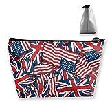 British American Flag Pattern Pencil Case Bag Zipper Bag Coin Bag Makeup Bag Pouch Storage Bags Large Capacity Pen Holders for Children School Kids Boys Girls Women Gift