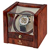 Time Tutelary Single Watch Winder (High Gloss Burlwood) No' 079 Bild 3