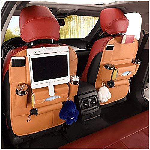 2 Packungen Premium Leder Auto Rücksitz Organizer Reise Aufbewahrungsbox Protektoren für Kinder Spielzeug Flaschen Tissue Box Tablet Regenschirm Tan - Kind-tan-leder