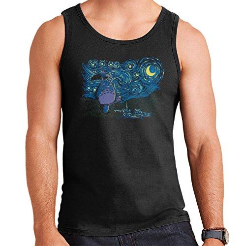 My Neighbor Totoro Van Gogh Starry Neighbor Men's Vest Black