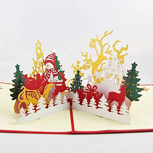 BC Worldwide Ltd handgefertigte 3D Pop-up-Weihnachtskarte, Grußkarte, jolly Schneemann Rentier Schlitten Geschenk Lieferung Baum Cottage Tisch Ornament Geschenk für Liebe Freundschaft Familie