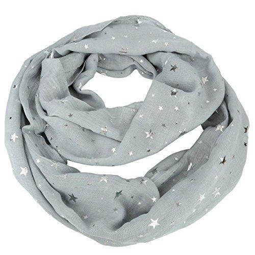 CHIC DIARY Damen Mädchen Loop Schal Weich Schlauchschal mit Heißprägen Sterne für Herbst und Winter, 90*72cm