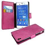 HTC One M8, M8S Flip Tasche, Vintage Klapp-Hülle, Flipcase Wallet, Book Handytasche, Handy-Etui im Bookstyle mit Magnetverschluss, Kartenfach für HTC One M8, M8S, Pink