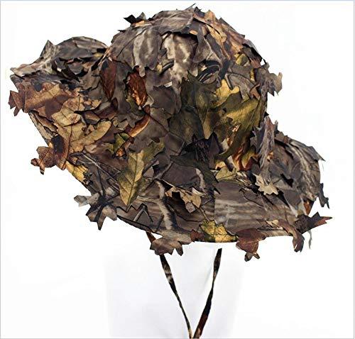 sonnenhüte für männer Wasserdichte 3D blätter camo Taktische Kappe Eimer hüte für die Jagd Angeln Sonnenschirm Armee Krieg Spiele,E ()