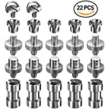 Muscccm 22Piece Thread Screw 1/4to 3/8, 1/4to 1/4Screw With Stainless Steel for Tripod/Monopod/Quick Release (QR) Plate/Camera Screws