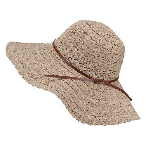 Damen Faltbarer Sonnenhut UPF Flexible Sommer Strand Strohhut mit Sonnenschutz breite Krempe Damen Mode Hut aus Baumwolle, Khaki, Einheitsgröße
