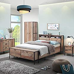 Timber Art Design Stretton Urban Double Bed Frame with Slat Base, Header & Footer Storage Rustic Industrial Oak Effect Bedroom Furniture