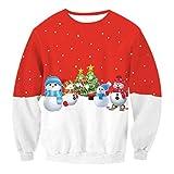 Weihnachts Sweatshirt Damen Rundhalsausschnitt Sweatshirts Bedruckt  Schneemann Weihnachtsmotiv Wintermantel Damenmäntel Top Jumper XL fe970e8725