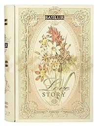 Basilur Pure Ceylon Green leaf tea with sufflower, cornflower 'Love Story Volume #1' in metal caddy, 100 gr