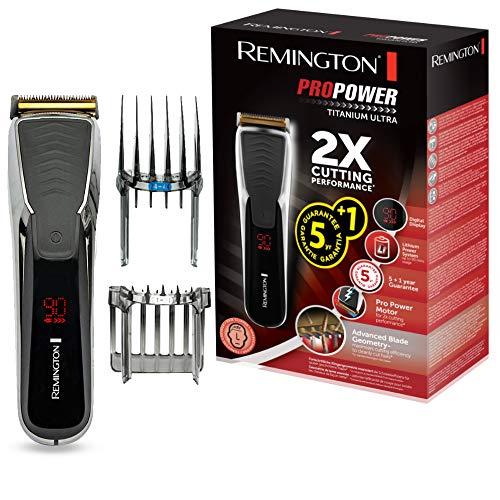 Remington Haarschneidemaschine HC7170 (LED-Anzeigedisplay, titanbeschichtete Klingen, 17 Längeneinstellungen + 2 Aufsteckkämme, Netz-/ Akkubetrieb, Lithium) Haarschneider ProPower Titanium Ultra
